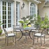 La Jolla Cast Aluminum Outdoor 48'' Round 5-Piece Dining Set in Gray Powder-Coated Finish, Set Includes: 48'' Table and (4) Arm Chairs