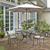 La Jolla Cast Aluminum Outdoor 48'' Round 5-Piece Dining Set w/ Umbrella & Base in Gray Powder-Coated Finish, Set Includes: 48'' Table and (4) Arm Chairs