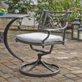 La Jolla Cast Aluminum Outdoor Swivel Rocking Chair in Gray Powder-Coated Finish, 24-3/4'' W x 23-3/4'' D x 31-1/2'' H