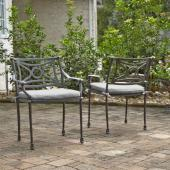 La Jolla Cast Aluminum Outdoor Pair of Arm Chairs in Gray Powder-Coated Finish, 24-3/4'' W x 23-3/4'' D x 31-1/2'' H