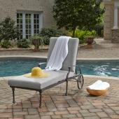 La Jolla Cast Aluminum Outdoor Chaise Lounge in Gray Powder-Coated Finish, 78'' W x 31'' D x 37'' H