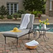 La Jolla Cast Aluminum Outdoor Chaise Lounge & Accent Table in Gray Powder-Coated Finish, Set Includes: 78'' Chaise Lounge and 21'' Accent Table