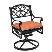 Biscayne Swivel Chair Rocker with Cushion, Black Finish, 25-1/4''W x 22''D x 33''H