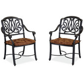 Floral Blossom Arm Chairs in Burnt Sierra Leaf Pattern, Set of 2