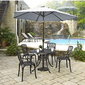 Largo Collection 42'' Diameter 5-Piece Outdoor Dining Set w/ Umbrella (Includes: (1) Round Table, (4) Arm Chairs, (1) Umbrella and (1) Umbrella Stand), Charcoal Finish