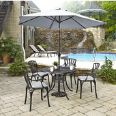Largo Collection 42'' Diameter 5-Piece Outdoor Dining Set w/ Umbrella and Cushions (Includes: (1) Round Table, (4) Arm Chairs, (4) Seat Cushions, (1) Umbrella and (1) Umbrella Stand), Charcoal Finish