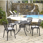 Largo Collection 42'' Diameter 5-Piece Outdoor Dining Set w/ Cushions (Includes: (1) Round Table, (4) Arm Chairs and (4) Seat Cushions), Charcoal Finish