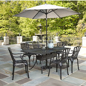 Largo Collection 42'' Wide 7-Piece Outdoor Dining Set w/ Umbrella (Includes: (1) Rectangle Table, (6) Arm Chairs, (1) Umbrella and (1) Umbrella Stand), Charcoal Finish