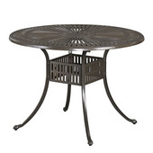 Largo 42'' Round Outdoor UV-Resistant Cast Aluminum Indoor/Outdoor Patio Dining Table with Umbrella Hole in Taupe