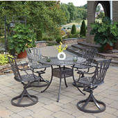 Largo 5-Piece UV-Resistant Cast Aluminum Indoor/Outdoor Patio Dining Set - 42'' Dia. Table and Four Swivel Chairs in Taupe