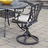 Largo UV-Resistant Cast Aluminum Indoor/Outdoor Patio Swivel Chair with Gray Weather-Resistant Cushions in Taupe