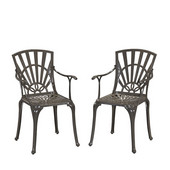 Largo UV-Resistant Cast Aluminum Indoor/Outdoor Patio Dining Chair in Taupe
