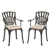 Largo UV-Resistant Cast Aluminum Indoor/Outdoor Patio Dining Chair with Gray Weather-Resistant Cushion, Set of Two in Taupe