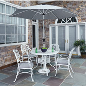 Floral Blossom 42 In. White 5-Piece Ornate Cast Aluminum Round Dining Set with Umbrella in White