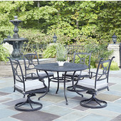 Athens 5-Piece Cast Aluminum Outdoor Patio Dining Set with Cushions - 48'' Dia. Table and Four Swivel Chairs in Charcoal