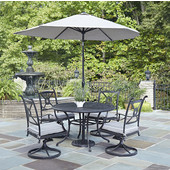 Athens 5-Piece Cast Aluminum Outdoor Patio Dining Set with Cushions and Umbrella - 48'' Dia. Table and Four Swivel Chairs in Charcoal