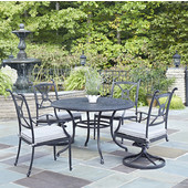 Athens 5-Piece Cast Aluminum Outdoor Patio Dining Set with Cushions - 48'' Dia. Table, Two Arm Chairs and Two Swivel Chairs in Charcoal