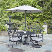 Athens 5-Piece Cast Aluminum Outdoor Patio Dining Set with Cushions and Umbrella - 48'' Dia. Table, Two Arm Chairs and Two Swivel Chairs in Charcoal