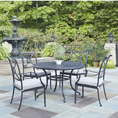Athens 5-Piece Cast Aluminum Outdoor Patio Dining Set with Cushions - 48'' Dia. Table and Four Arm Chairs in Charcoal