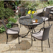 Stone Harbor 5-Pc. Dining Set, Includes Stone Harbor Table & 4 Laguna Slope Arm Chairs, Black & Slate, 39-1/2''W x  39-1/2''D x  30''H