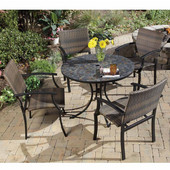 Stone Harbor 5-Pc. Dining Set, Includes Stone Harbor Table & 4 Newport Slope Arm Chairs, Black & Slate, 39-1/2''W x  39-1/2''D x  30''H