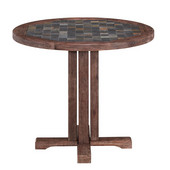 Hand-Crafted Morocco Round Dining Table with Slate Tile Top in Wire Brushed