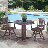 Hand-Crafted Morocco 3-Piece Round Dining Set with Slate Tile Top Table and Two Slat Back Indoor/Outdoor Acacia Swivel Chairs in Slate/Wire Brushed