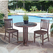 Hand-Crafted Morocco 3-Piece Round Dining Set with Slate Tile Top Table and Two Slat Back Indoor/Outdoor Acacia Chairs in Slate/Wire Brushed