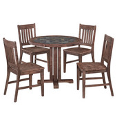 Hand-Crafted Morocco 5-Piece Round Dining Set with Slate Tile Top Table and Four Slat Back Indoor/Outdoor Acacia Chairs in Slate/Wire Brushed