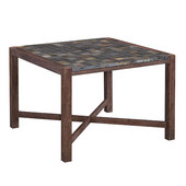 Hand-Crafted Morocco Square Acia Wood Dining Table with Slate Tile Top in Slate/Wire Brushed