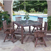 Hand-Crafted Morocco 5-Piece Square Dining Set with Slate Tile Top Table and Four Slat Back Indoor/Outdoor Acacia Chairs in Slate/Wire Brushed