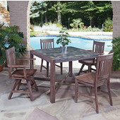 Hand-Crafted Morocco 5-Piece Square Dining Set with Slate Tile Top Table and Four Slat Back Indoor/Outdoor Acacia Swivel Chairs in Slate/Wire Brushed