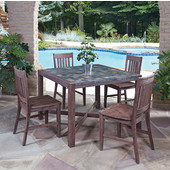 Hand-Crafted Morocco 5-Piece Square Dining Set with Slate Tile Top Table and Four Slat Back Indoor/Outdoor Acacia Chairs in
