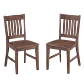 Morocco Slat Back Rustic Indoor/Outdoor Acacia Side Chair, Set of Two in Wire Brushed