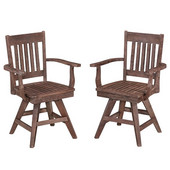 Morocco Slat Back Rustic Indoor/Outdoor Acacia Swivel Chair, Set of Two in Slate/Wire Brushed