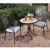 Terra Cotta 3-Pc. Bistro Set, Includes Terra Cotta Bistro Table & 2 Laguna Slope Arm Chairs, 27-1/2''W x  27-1/2''D x  30''H