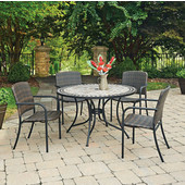 51'' Laguna Marble Top Outdoor Bistro Table With 4 Arm Chairs