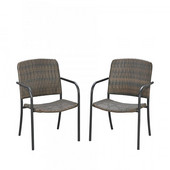 Laguna II Pair of Arm Chairs With Two-Tone Walnut Weave Seat and Back