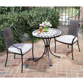 Marble 3-Pc. Bistro Set, Includes Marble Bistro Table & 2 Laguna Slope Arm Chairs, Black & Gray, 27-1/2''W x  27-1/2''D x  30''H