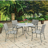 41'' Capri Concrete Stenciled Round Outdoor Table With 4 Arm Chairs