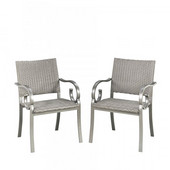 Capri Pair of Outdoor Arm Chairs in Grey Finish