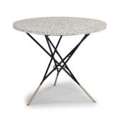 Du Jour Outdoor / Indoor Round Tile Top Table in White Concrete, Black Powder-Coated Frame Finish, 35-1/2'' Diameter x 30'' H