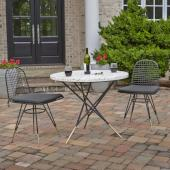 Du Jour Outdoor / Indoor 3-Piece Bistro Set in White Concrete, Black Powder-Coated Frame Finish, Set Includes: 35-1/2'' Round Table and (2) Chairs
