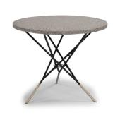 Du Jour Outdoor / Indoor Round Tile Top Table in Gray Concrete, Black Powder-Coated Finish, 35-1/2'' Diameter x 30'' H