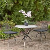 Du Jour Outdoor / Indoor 3-Piece Bistro Set in Gray Concrete, Black Powder-Coated Finish, Set Includes: 35-1/2'' Round Table and (2) Chairs