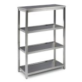 Bold Stainless Steel Collection 4-Tier Bath Shelf in Brushed Stainless Steel, 24'' W x 11'' D x 38'' H