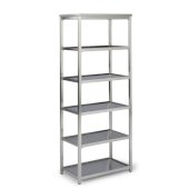 Bold Stainless Steel Collection 6-Tier Bath Shelf in Brushed Stainless Steel, 24'' W x 14'' D x 60'' H