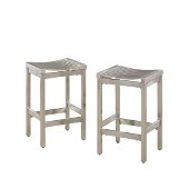 Pair of Stainless Steel Stools in Brushed Satin, 15-3/4'' W x 13-3/4'' D x 24'' H
