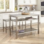48'' Wide Stainless Steel Island Set with 2 Stools in Brushed Satin, 48'' W x 24'' D x 36'' H