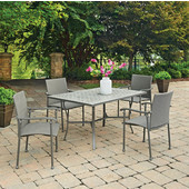 Umbria Concrete Tile Rectangular Outdoor Table With 4 Arm Chairs